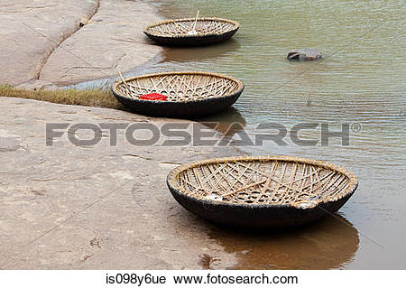Stock Photography of Traditional coracle boats, Tungabhadra river.