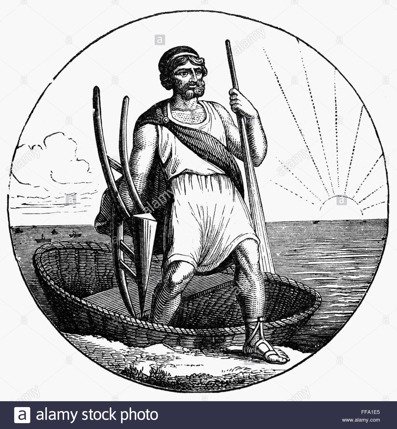 Ancient Briton Coracle. /na Coracle, Used From Anicent Times Stock.