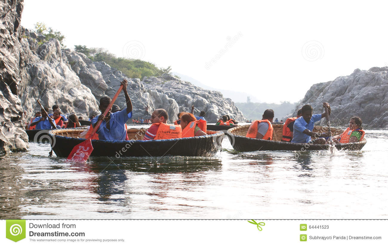 Tourist Families On A Coracle Ride At Hogenakkal Falls, Tamil Nadu.