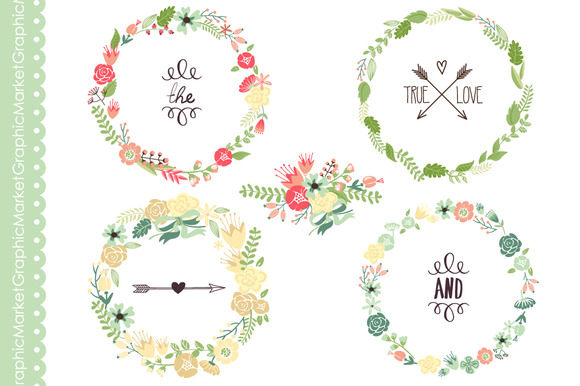 coral floral wreath clipart