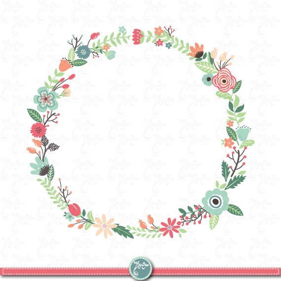 coral floral wreath clipart #9