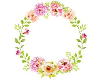 coral floral wreath clipart #5