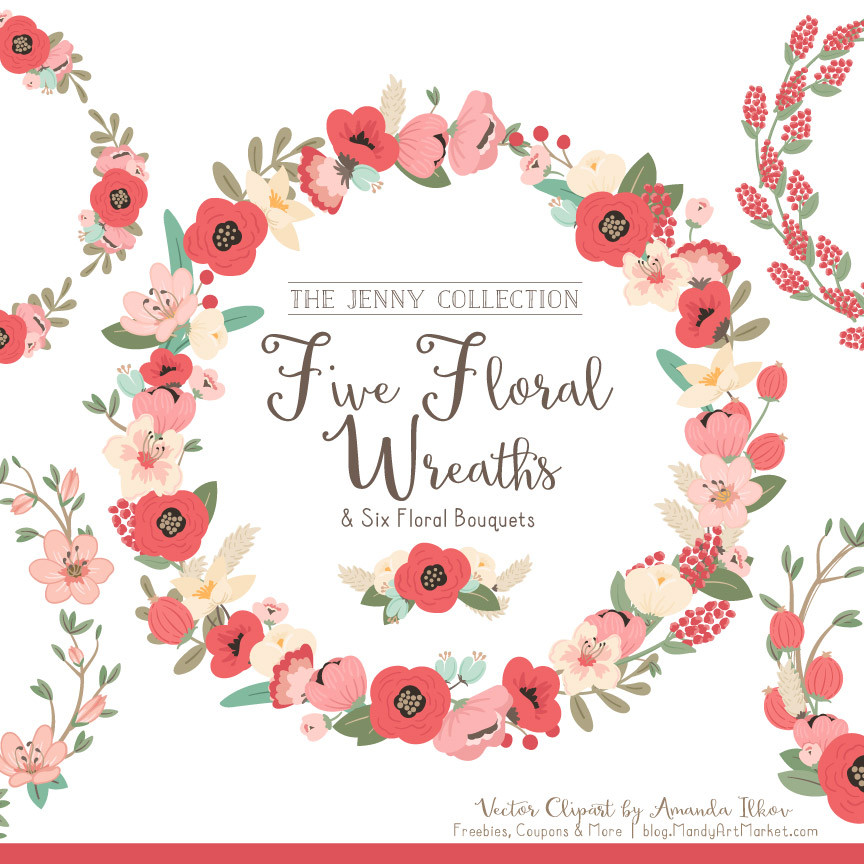 coral floral wreath clipart #3