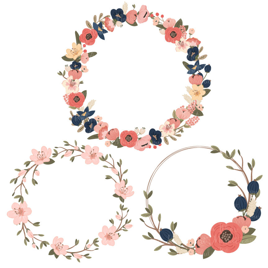 coral floral wreath clipart #19