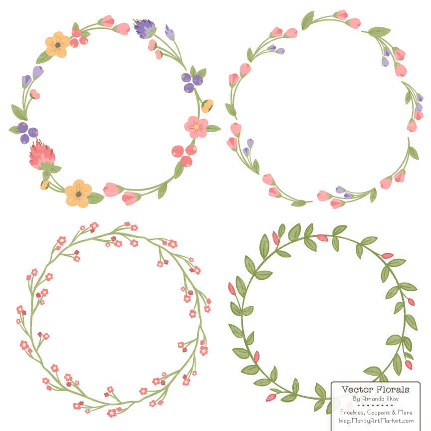 coral floral wreath clipart #2