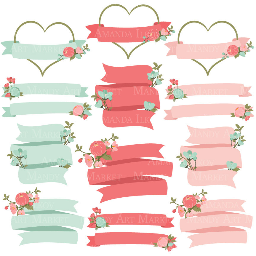coral floral wreath clipart #17