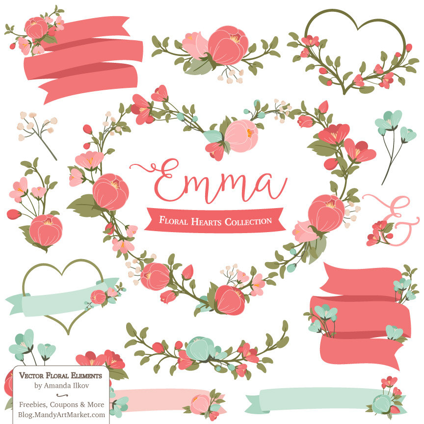 Emma Floral Heart Clipart & Vectors in Mint and Coral mint.