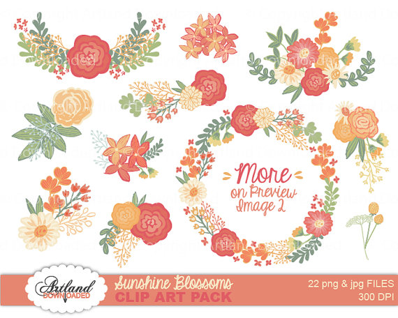 coral floral wreath clipart #14