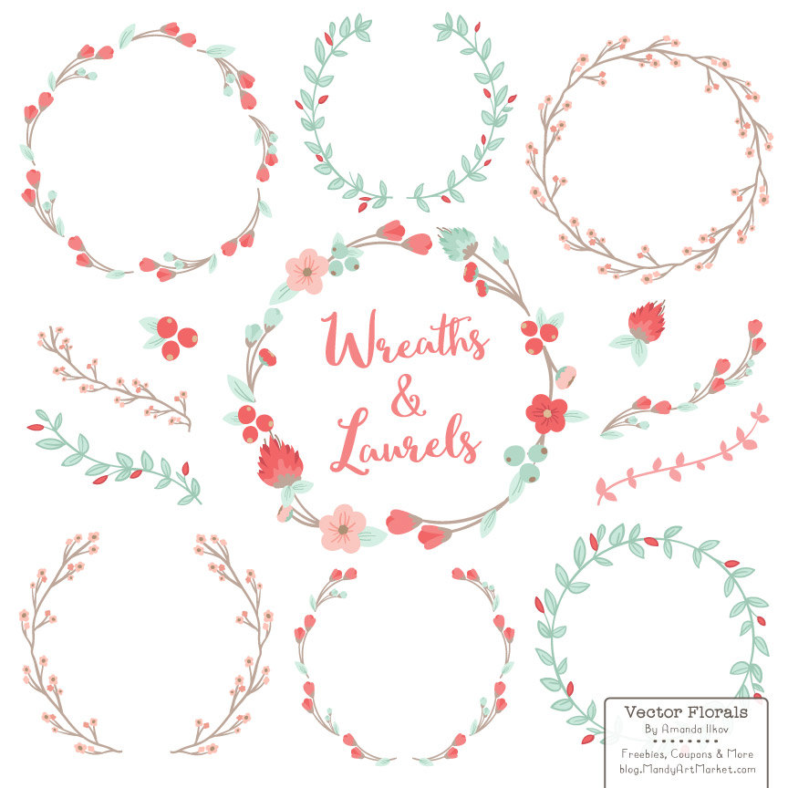coral floral wreath clipart #13