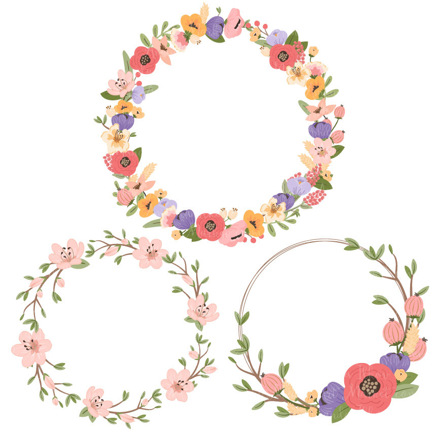 coral floral wreath clipart - Clipground