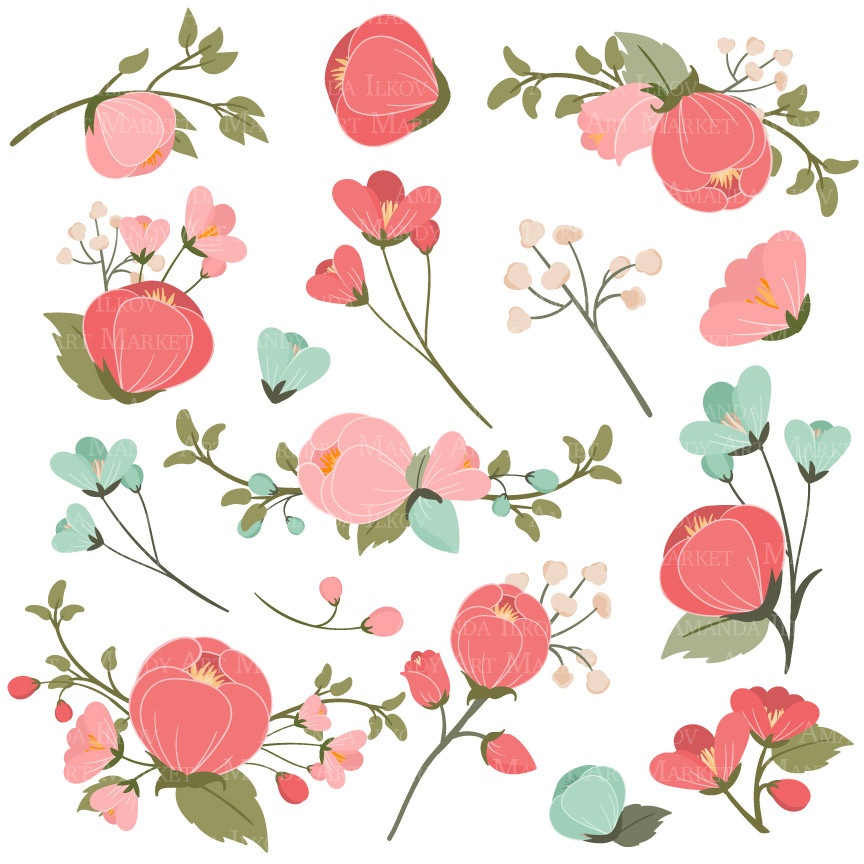 Coral Flowers Clipart Clipground