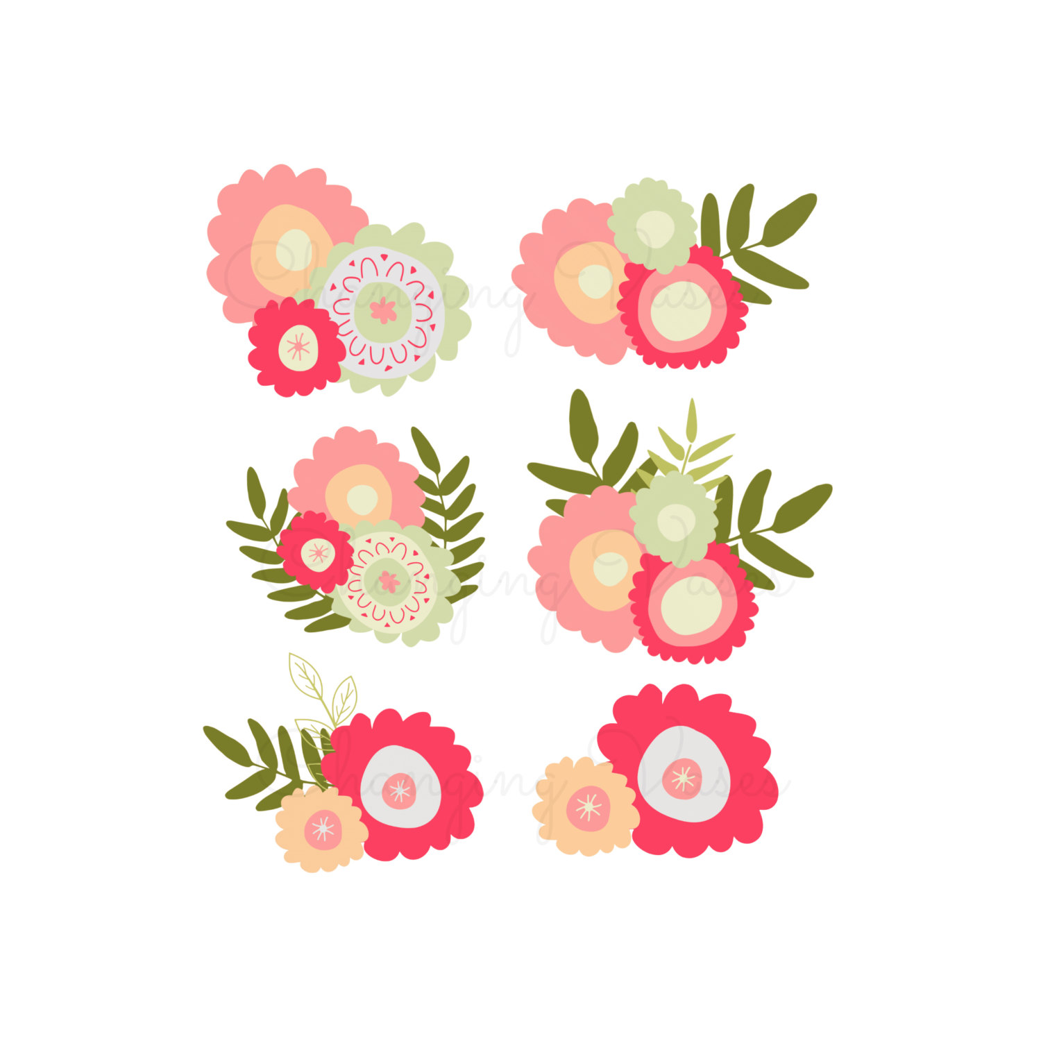 Coral flower wreath clipart.