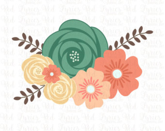 Teal floral clipart.