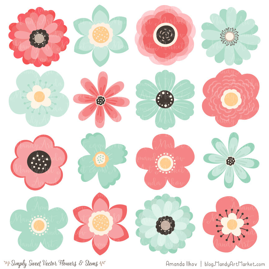 Cute Flowers Clipart in Mint & Coral.