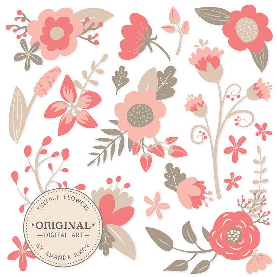 Premium Vintage Floral Clipart & Flower Vectors.
