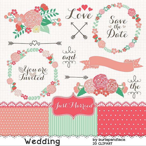 Wedding wreath clipart flower, purple flower clipart, bridal.