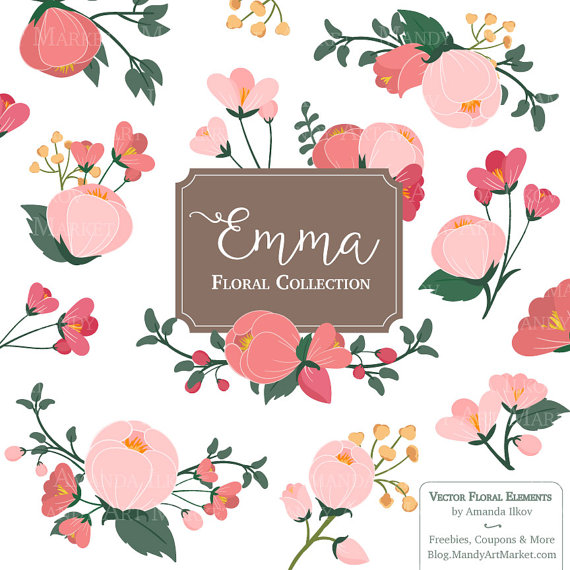 Emma Floral Bunches Clipart & Vectors pink flowers coral.