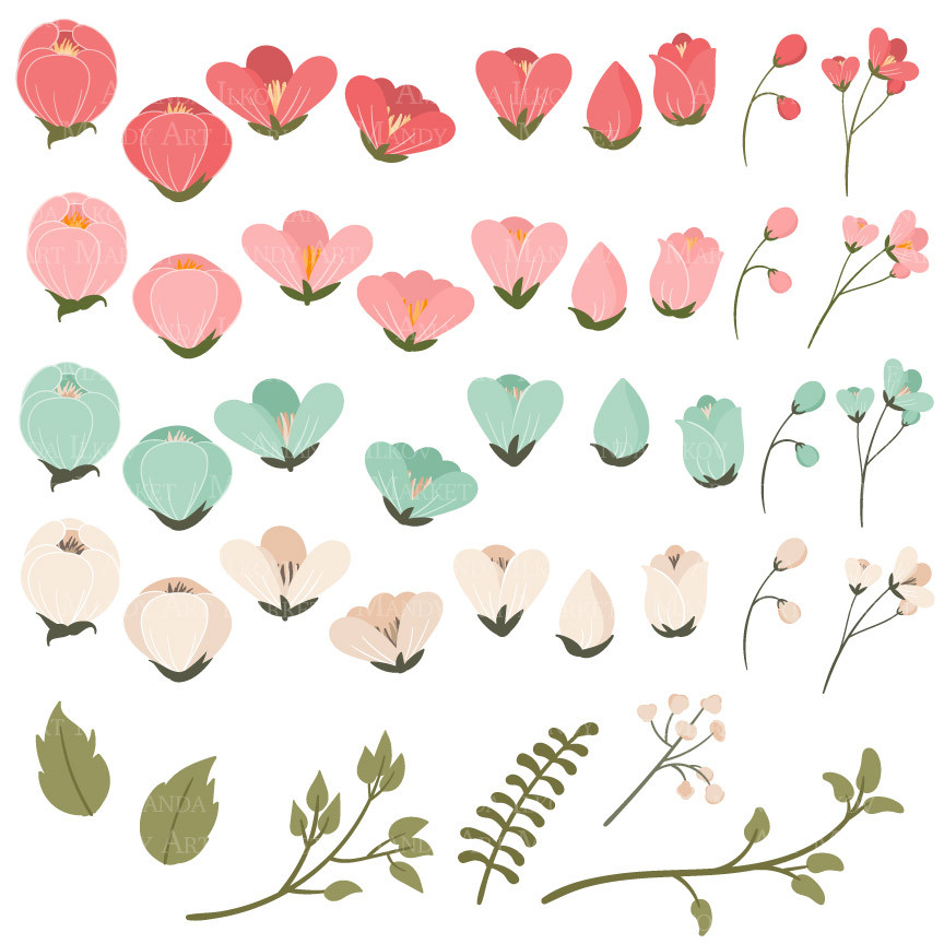 Flower Clipart in Mint & Coral.