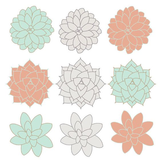 INSTANT DOWNLOAD // Digital Clip Art // Succulents Clip Art.