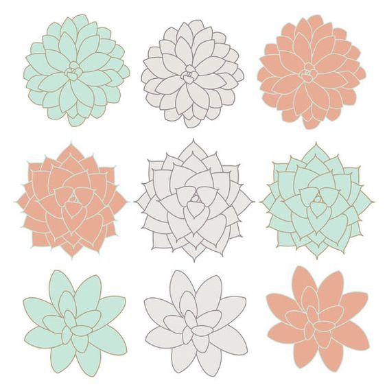 INSTANT DOWNLOAD // Digital Clip Art // Succulents Clip Art.