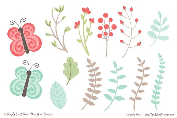 Mint & Coral Flowers Clipart ~ Illustrations on Creative Market.