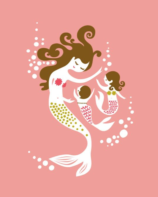 """mermaid mother & two daughters. coral/fuchsia/olive. 8X10"""" giclee."""