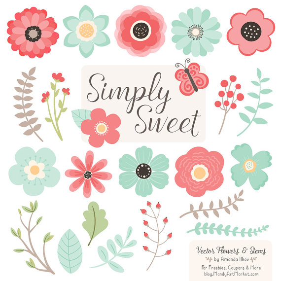 Cute Flowers Clipart in Mint & Coral Mint and by AmandaIlkov.
