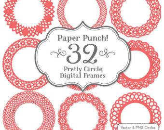 32 Premium Paper Punch Fuchsia Lace Frames Clipart by AmandaIlkov.