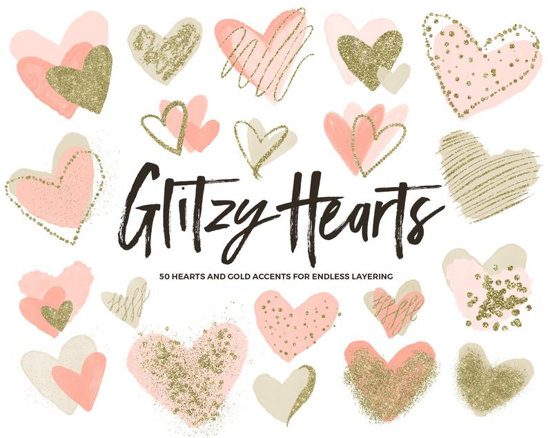 Coral Clipart Hearts / Coral and Gold Clipart / Blush Hearts Clip Art /  Coral Heart Clipart / Gold Glitter Heart Clipart / Coral Watercolor.