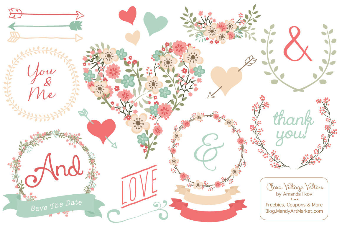 Clara Vintage Floral Wedding Heart Clipart in Mint & Coral By Amanda.