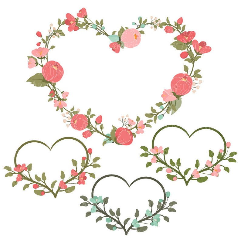 Emma Floral Heart Clipart & Vectors in Mint and Coral.