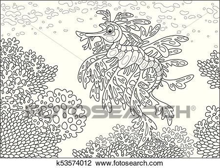 Leafy sea dragon on a coral reef Clipart.