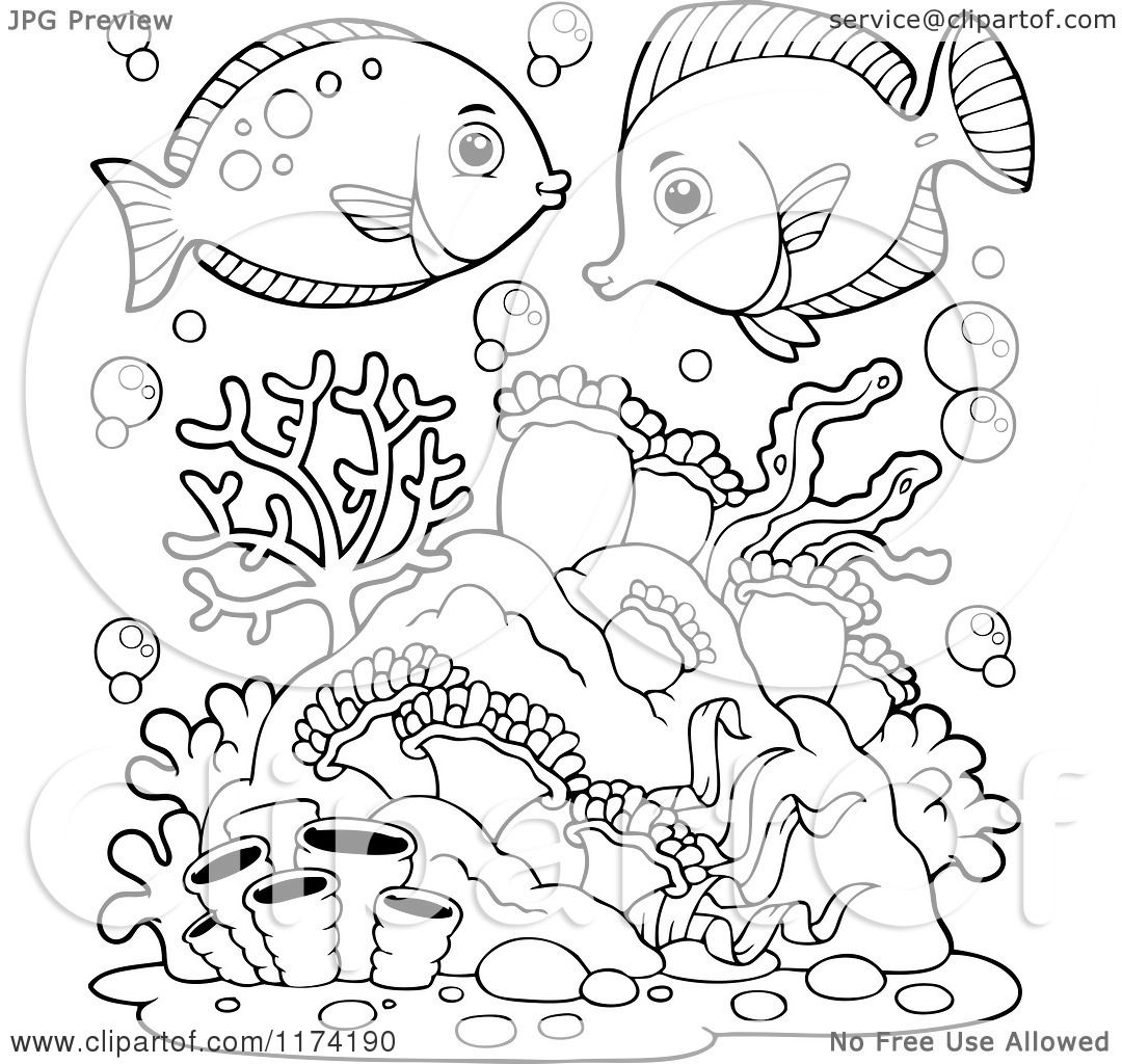 Cartoon of Black and White Marine Fish over Corals and Anemones.
