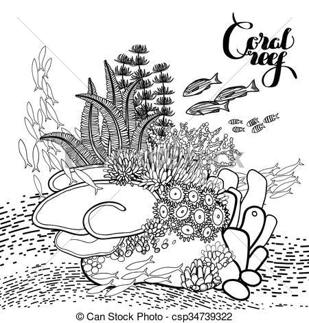 Coral reef clipart black and white 3 » Clipart Portal.
