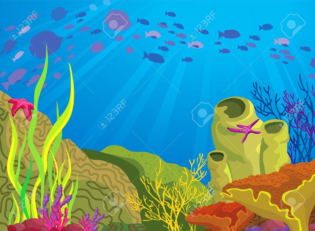 Coral reef background clipart.