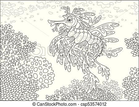 Leafy sea dragon on a coral reef.