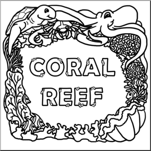 Clip Art: Biome Icons: Coral Reef B&W I abcteach.com.