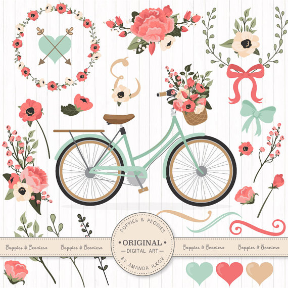 Premium Wedding Clipart & Vectors Mint and Coral Bicycle.