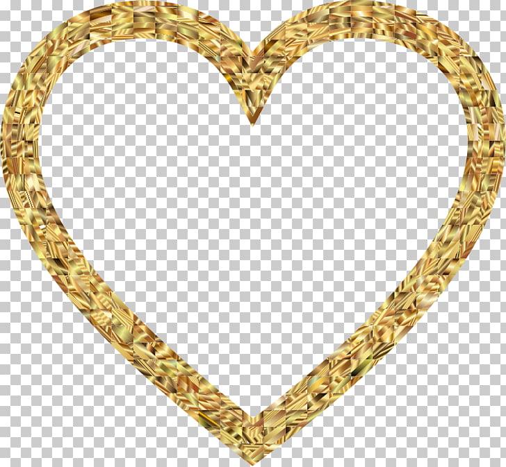 Corazon de oro dorado PNG Clipart.