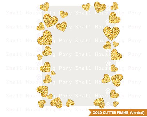 Glitter Gold Hearts Frame Clipart, heart Clip art, glitters.