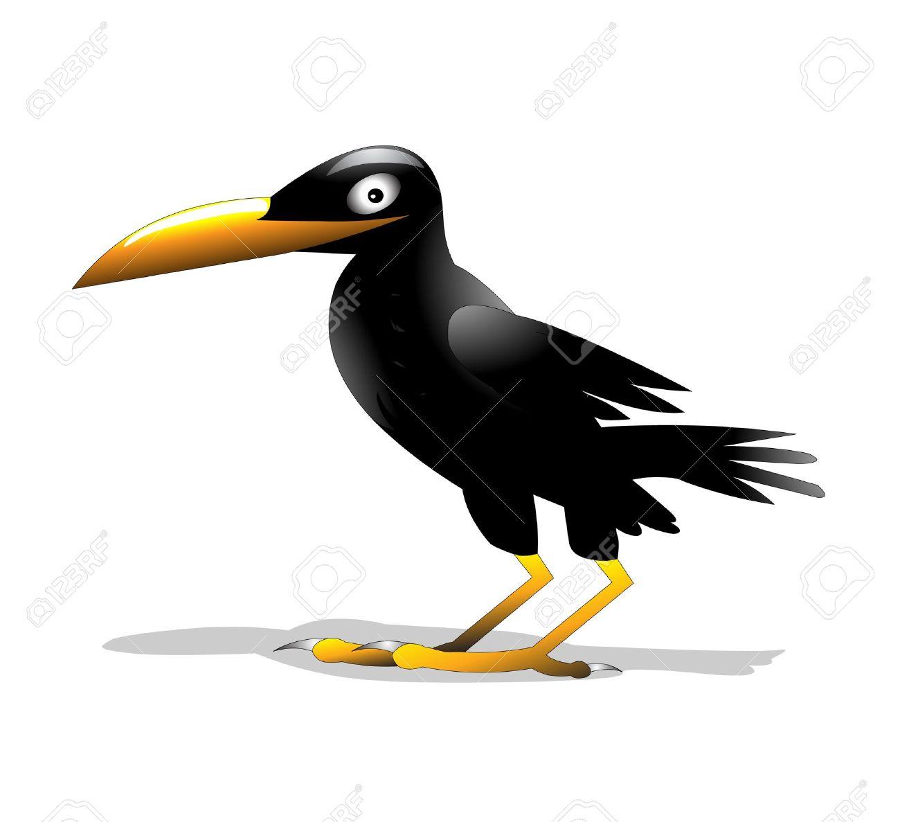 Illustration oiseau solitaire corbeau est isolé sur fond blanc.