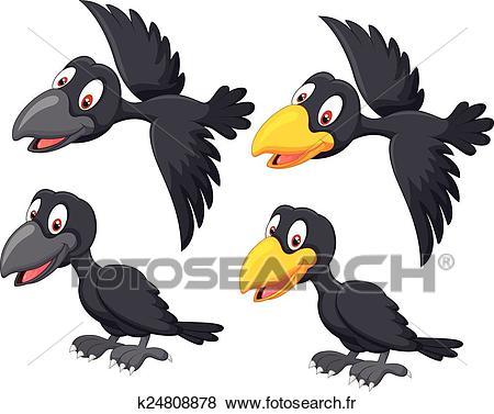 Mignon, dessin animé, corbeau Clipart.