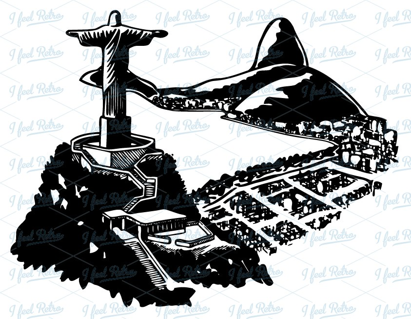 Retro Clipart: Corcovado in Brazil.