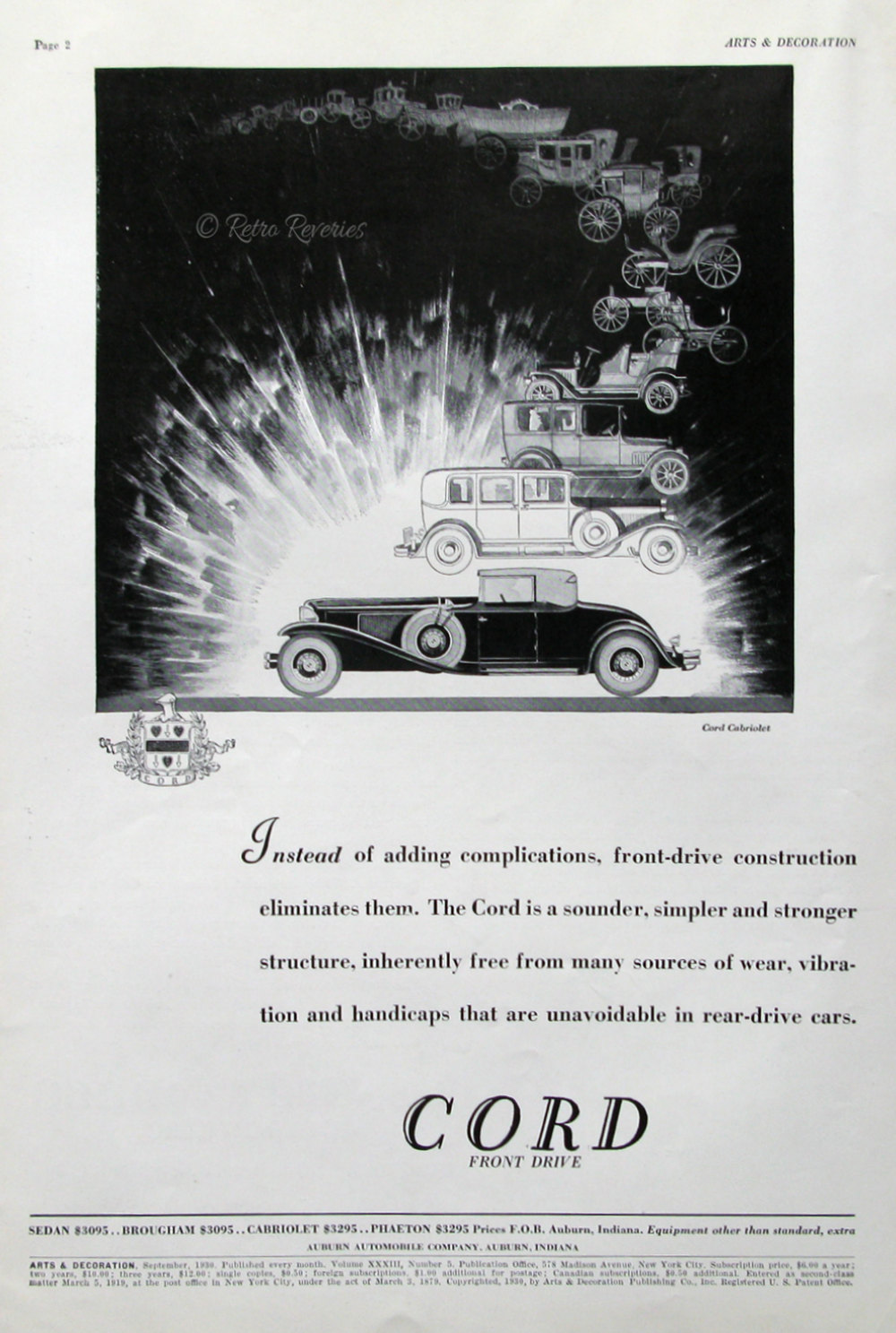 1930 Cord Cabriolet Ad Evolution of a Luxury Car by RetroReveries.