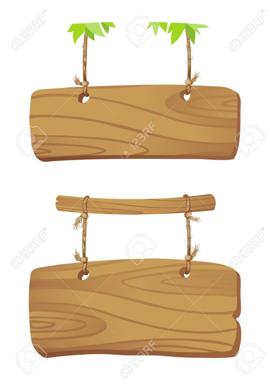 Wooden Boards Hanging On A Cord On Branch Of A Tree Royalty Free.