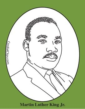 Martin Luther King Jr. Clip Art, Coloring Page or Mini Poster.