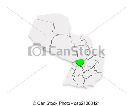 Clip Art of Map of Cordillera. Paraguay. 3d csp21083421.