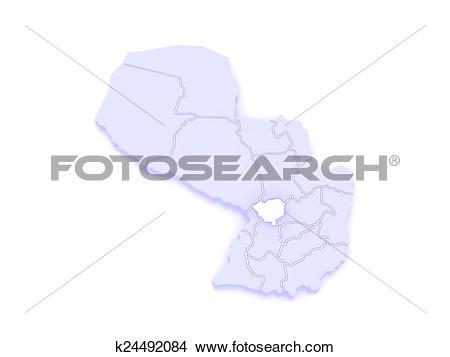 Drawings of Map of Cordillera. Paraguay. k24492084.