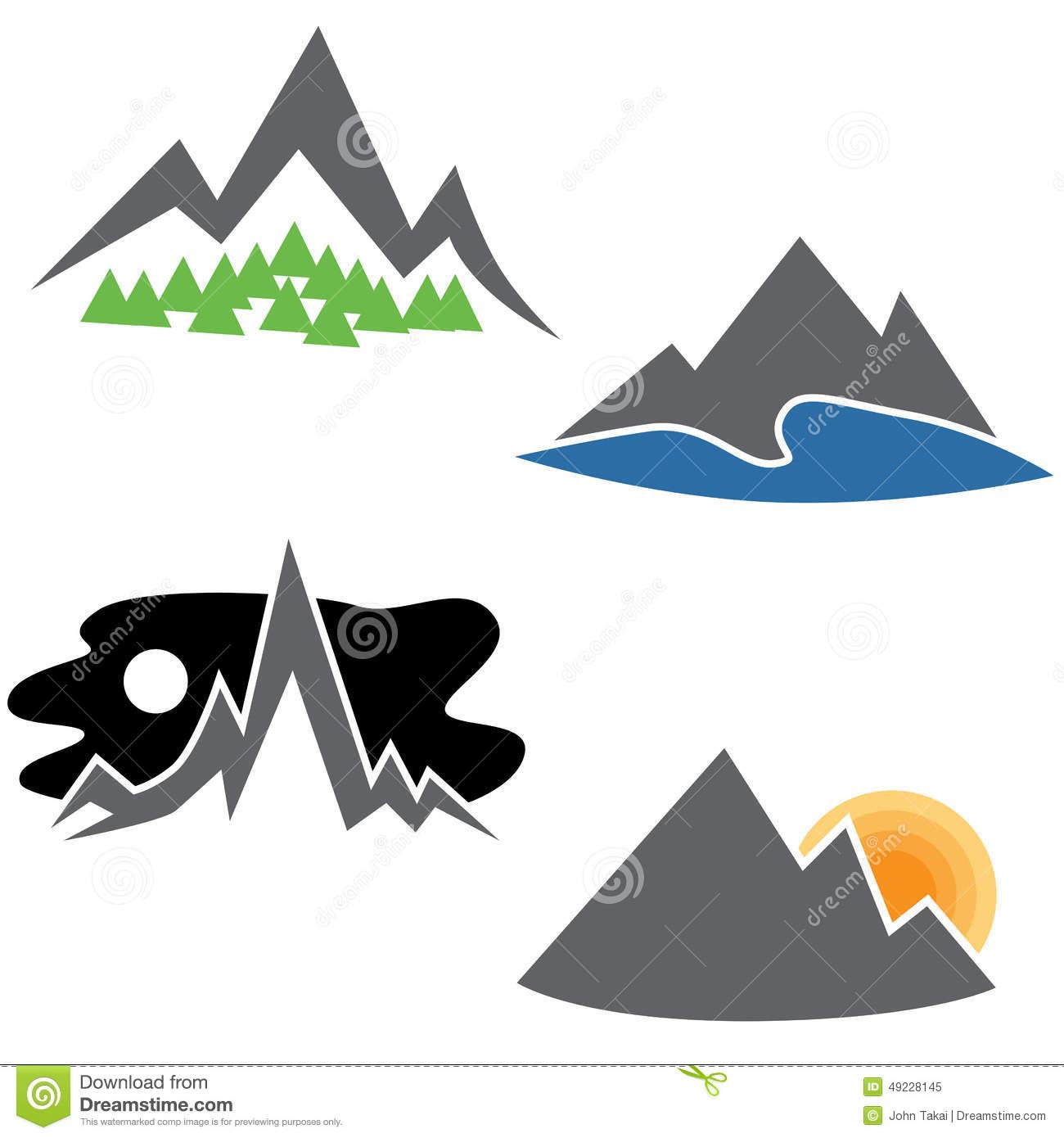 Mountain Icon Clipart Set Cartoon Vector.