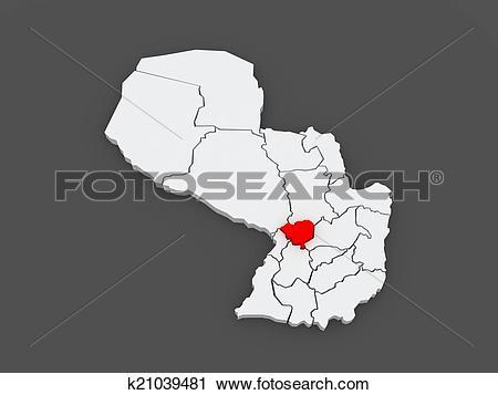 Clipart of Map of Cordillera. Paraguay. k21039481.